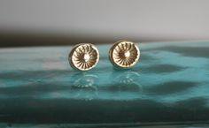 Flower Stud Earings - Gold Stud Earrings - 18k Gold Plated by MtCarmelJewelry on Etsy https://www.etsy.com/listing/89376568/flower-stud-earings-gold-stud-earrings