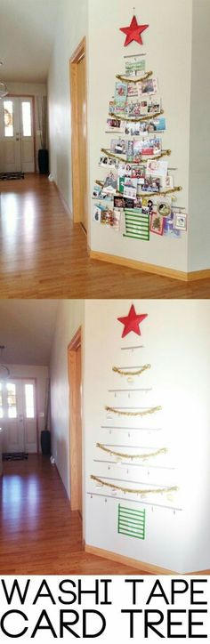 (UPDATE pg 6 w/pic!) - Page 2 Washi Tape Tree! A festive way to organize all of your holiday cards. A festive way to organize all of your holiday cards. Noel Christmas, Winter Christmas, All Things Christmas, Hanging Christmas Cards, Cheap Christmas, Homemade Christmas, Country Christmas, Christmas Card Display, Christmas Baubles