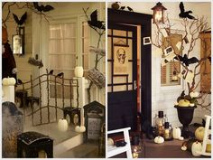 Love decorating for any and every holiday. Such a classy Halloween theme! Use gate with lights