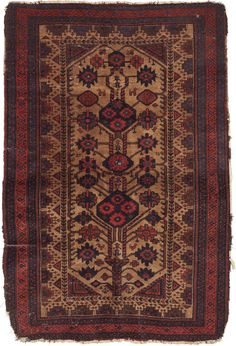 A Rare 19th Century Baluch Rug Arab Baluch Ferdouz Region? 2nd Half 19th century 106 x 162 cms (41¾ x 64 ins) Wool Asymmetric knots open to the right