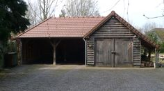 Room for car port / garaging / log store / bike store. Carport Sheds, Carport Patio, Carport Garage, Barn Garage, Garage House, Garage Plans, Shed Plans, Carport Designs, Garage Design