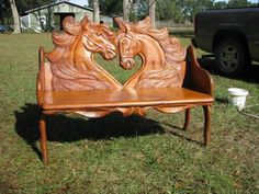 Carved Wooden Bench - Ideas on Foter Tree Carving, Wood Carving Art, Wood Carvings, Equestrian Decor, Western Decor, Log Furniture, Unique Furniture, Western Furniture, Garden Furniture