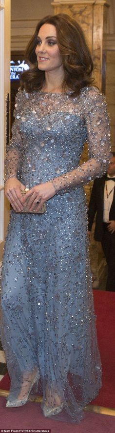Kate last attended in the Royal Variety Show in 2014 when she was also pregnant. She wore long sleeved dresses to both events, but this time blue was her colour of choice