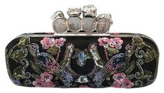 ecc561ad1545e Alexander McQueen Black Sequin Birds Embroidered Knuckle Multicolor Satin  Clutch.