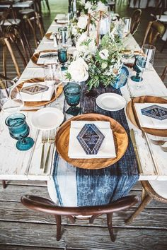 Gorgeous, check out this stained navy blue tablecloth, feel like a vintage wedding in timeless and memorable table setting centerpieces, diy wedding reception decorations Wedding Table Settings, Wedding Table Centerpieces, Wedding Decorations, Table Decorations, Place Settings, Blue Tablecloth, Boho Wedding, Cake Wedding, Wedding Reception