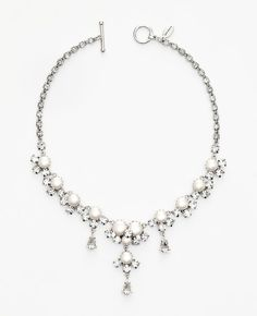 Ann Taylor - AT Weddings Jewelry - Pearlized Bead and Crystal Dangle Necklace