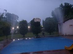 Artificial rain in Karjatvilla farmhouse in Karjat.
