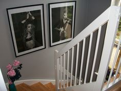 my high ceiling hallway staircase: in mid- grey paint, dulux 'Chic Shadow' Endurance. Large habitat frames pair to add glamour. Vase on steps Dulux Chic Shadow, Interior Paint Colors, Paint Colours, Oak Bedroom, Master Bedroom, Grey Hallway, Dulux Paint, Oak Stairs, Grey Houses