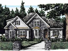 Eplans French Country House Plan - Serving Bar in Kitchen - 1694 Square Feet and 3 Bedrooms from Eplans - House Plan Code HWEPL10909
