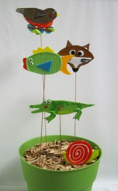 Whimsical Garden Stakes. Artist: Deb Cook. Hot/Warm Glass category. Just For Fun Contest. Stained Glass Express. Manchester, Maine.