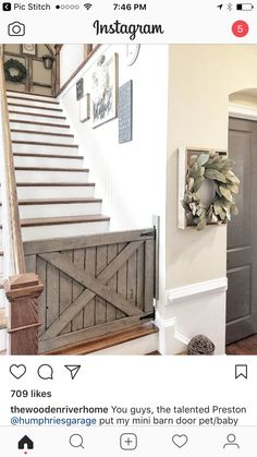 You guys, the talented Preston put my mini barn door pet/baby gate up today! Baby Gate For Stairs, Barn Door Baby Gate, Diy Baby Gate, Pet Gate, Diy Barn Door, Baby Door, Dog Gates, Baby Barn, Custom Wood Doors
