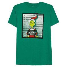 Dr. Seuss Men's Big & Tall Grinch Booking Photo T-Shirt Green
