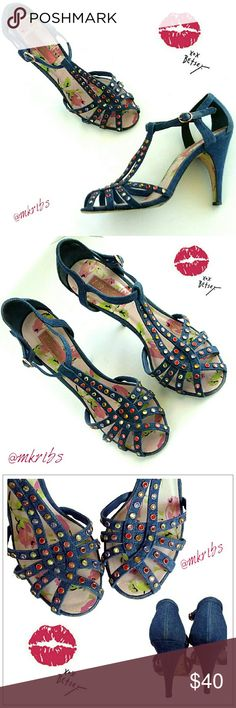 Betsey Johnson denim strappy sandal heel Cute, unique ankle strap, denim peep-toe. Colorful crystals,  rhinestones, adorn the multiple straps.   4 inch heel. Excellent condition with signs of wear on bottom sole only. All rhinestones are fully in tact. NO TRADES PLEASE! OFFERS WELCOME THROUGH OFFER FEATURE ONLY PLEASE! Betsey Johnson Shoes Heels