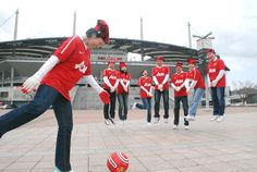 Gorgeous shot of Aon colleagues in Seoul, South Korea outside of Seoul World Cup Stadium.