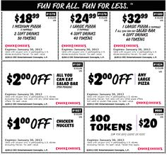 100 tokens for $20 bucks and more at Chuck E Cheese pizza coupon via The Coupons App