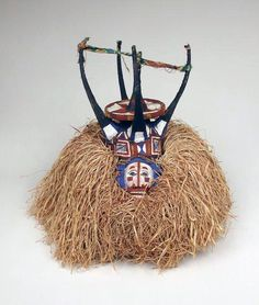 Africa | Mask from the Yaka people of DR Congo | Wood, raffia, cloth, plant fiber, paint, pigment | Mid 1900s