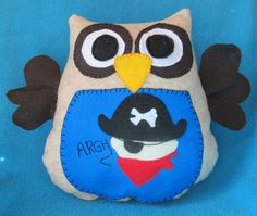 pirate stuffed owl pillow by shucksandshadoodles on Etsy, $16.00