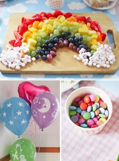 fruit & marshmallow rainbow food Cute for a unicorn party Rainbow Unicorn Party, Rainbow Birthday Party, Unicorn Birthday Parties, Baby Birthday, First Birthday Parties, Birthday Ideas, Rainbow Theme Baby Shower, Unicorn Party Decor, Rainbow Birthday Decorations