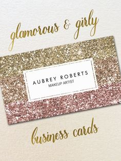 Update the look of your business cards with these trendy and girly faux glitter cards. Perfect for makeup artists, hair stylists, nail technicians, fashion stylists, bloggers, salons, spas, boutiques and other glamorous professions. The glitter design is printed so you get all of the glamour but without the mess of loose glitter. Fully customizable, these business cards are double-sided and come in packages of 100.