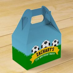 Shop Soccer Party Favor Box created by EnchantfancyDesignCo. Soccer Party Favors, Soccer Birthday Parties, Party Favors For Kids Birthday, Football Birthday, Sports Birthday, Sports Party, Birthday Gifts, Custom Boxes, Childrens Party