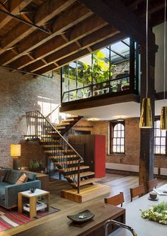 One of the nicest lofts i have ever seen. Loft by Andrew Franz Patio Interior, Interior And Exterior, Interior Ideas, Brick Interior, Interior Stairs, Bathroom Interior, Design Exterior, Loft Design, Design Design