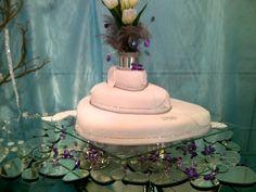 Tarta de bodas con plumas