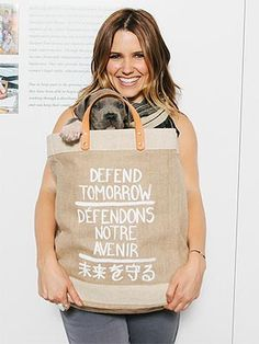 Sophia Bush teamed up with Los Angeles menswear company Apolis to produce this market tote in support of the brand's Defend Tomorrow initiative, which funds a sewing academy and provides job opportunities in the community of Saidpur, Bangladesh. I Love Dogs, Puppy Love, Celebrity Dogs, Celebrity Style, Jesse Spencer, Famous Dogs, Famous People, Taylor Kinney, Sophia Bush