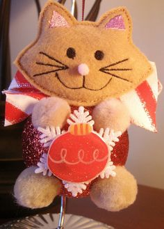 Holiday Christmas ornament Cat ornament by SANDRAINSTITCHES, $8.95
