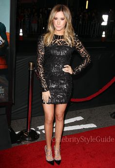 Seen on Celebrity Style Guide: Ashley Tisdale wore this black allover open knit and sequin pattern dress to That Awkward Moment Premiere held at The Regal Cinemas in Los Angeles, California on January 27th, 2014    Get It Here: http://rstyle.me/n/errtxmxbn