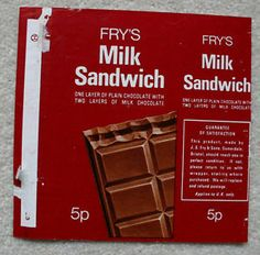 """Fry's MILK SANDWICH -1970's UK Chocolate Bar Wrapper 