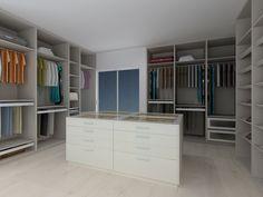 Interior  Closet - Melamina Linho Cancun ; Frentes Gavetas - Aluminio e Vidro Fosco. Movél Ilha: Modelo - Toronto - Lacado Branco Brilho, com Tampo Vidro Transparente.