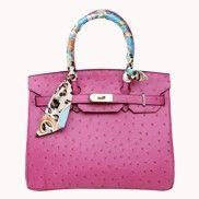 The Essential Jane Bag With Scarf Ostrich Leather Hot Pink