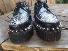 Badass grunge/gothic black leather spiked spiderweb platform creepers by demonia size 8 (Reserved for Nana do not buy if you are not her)