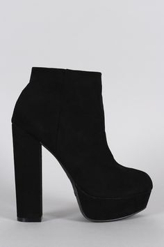 Bamboo Suede Chunky Heeled Platform Ankle Boots