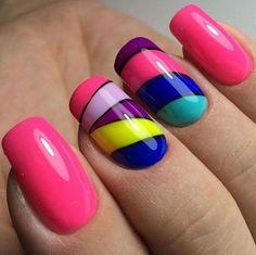 The nail design. Latest Nail Art, Trendy Nail Art, Cute Nail Art, Nail Art Diy, Stylish Nails, Easy Nail Art, Cute Nails, Simple Nail Designs, Nail Art Designs
