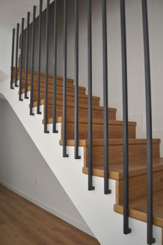 Modern Staircase Design Ideas - Surf inspirational images of modern staircases. With treads and rails crafted from wood metal concrete rock and glass these creative staircase designs . Modern Stair Railing, Stair Railing Design, Staircase Railings, Modern Stairs, Glass Railing, Staircase Ideas, Banisters, Staircases, Concrete Stairs