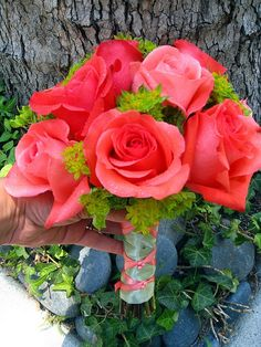 coral and green bouquets | Coral rose bouquet... Pretty with green | Flowers and Wedding Stuff