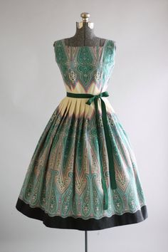 Vintage 1950s Dress / 50s Cotton Dress / Turquoise and Teal Paisley Border Print Dress w/ Full Skirt S/M