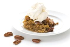 Pumpkin Pecan Cobbler - cobbler (almond flour, granular Swerve, unflavored protein/egg white protein powder, baking powder, pumpkin pie spice, salt, pumpkin puree, butter, unsweetened almond milk, vanilla extract), topping (granular Swerve, Yacon syrup/molasses [optional, would omit or sub another extract],chopped pecans, water)