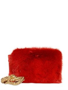ROBERTO CAVALLI - SWAROVSKI SNAKE MINK AND LEATHER CLUTCH - LUISAVIAROMA - LUXURY SHOPPING WORLDWIDE SHIPPING - FLORENCE