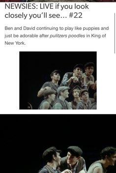 NEWSIES: LIVE  if you look closely you'll see #22 Credits: nobody-told-the-Horse //tumblr