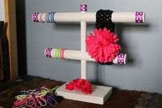Custom Headband & Hair Tie Holder Organizer Stand - Unique Baby Shower Gift Craft Show Display Hair Bow Ribbon - Baby Room Personalize. $30.00, via Etsy.