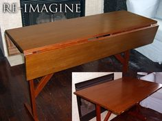 An old table leaf turned into a drop leaf sofa table.  We love creativity!