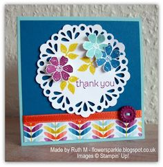 Flower Sparkle: Doily & Flowers Thank You Card using SAB goodies  #SU #BloominMarvelous #SycamoreStreet