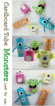 Warming up for Halloween 2017 with these cute little monsters craft. Made using cardboard tubes with my toddler.  . . . Cardboard Tube Craft, Kids Craft, Halloween Craft, Crafts for kids, Monster Craft, Toilet paper roll tube craft