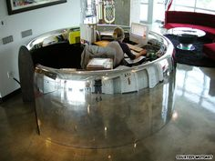once part of an airplane engine that traveled the world, now living a sedentary life as a desk. #repurpose