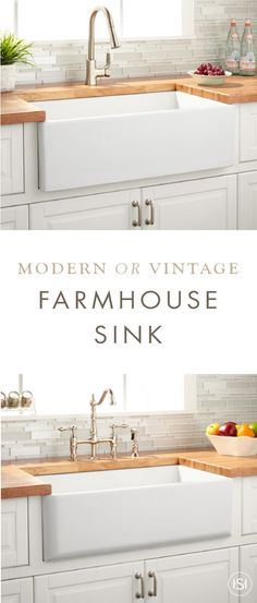 The Grigham Reversible Farmhouse Sink from Signature Hardware comes in a crisp white color that seamlessly coordinates with any home decor. Update your kitchen sink with this simple, timeless piece for a fresh dose of style.