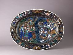 Dish: The Destruction of the Hosts of Pharaoh Artist: Master IC (probably Jean Court) (French, Limoges, active 1614–1627) or Artist: Jean Cour (or Court) (French, Limoges, active 1598–1631) Date: probably early 17th century Painted enamel on copper, partly gilt. Dimensions: 20 11/16 x 15 3/4 in.
