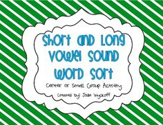 FREEBIE!! Short and Long Vowel Sound Word Sort
