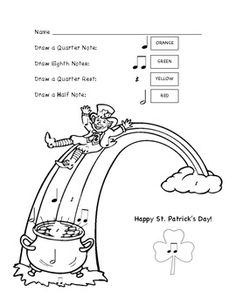 St. Patricks Day Color By Note Worksheet: FREE!!!!
